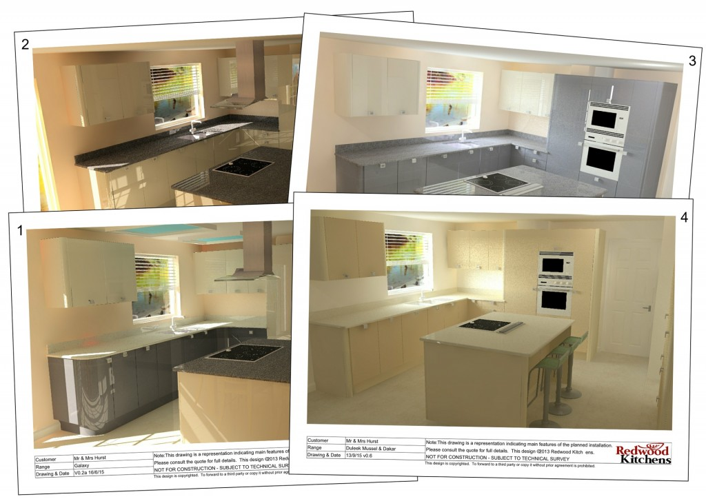 Visual showing the development of the kitchen design